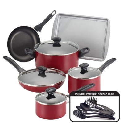 Picture of Farberware Dishwasher Safe 15-Piece Cookware Set - Red
