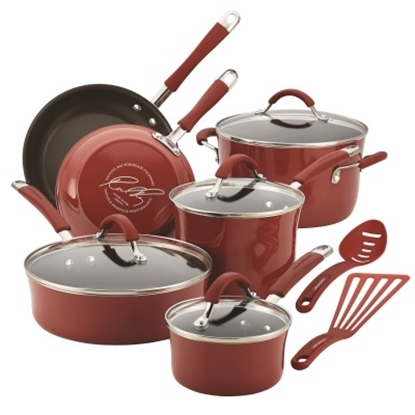 Picture of Rachael Ray Cucina 12PC Porcelain Cookware Set - Cranberry Red