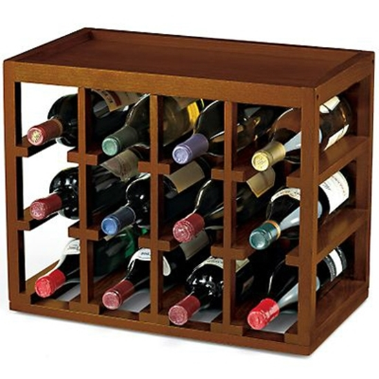 Picture of Wine Enthusiast 12 Bottle Cube-Stack Wine Rack (Walnut Stain)