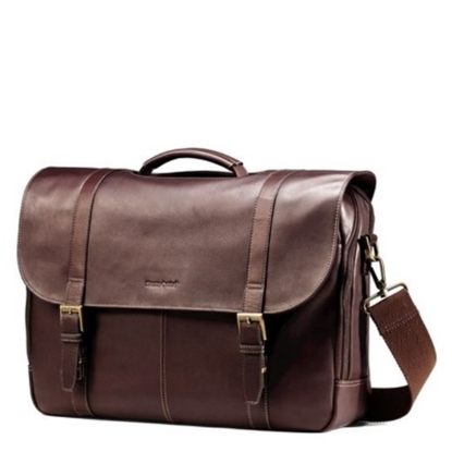 Picture of Samsonite Double Gusset Leather Flapover Case - Brown