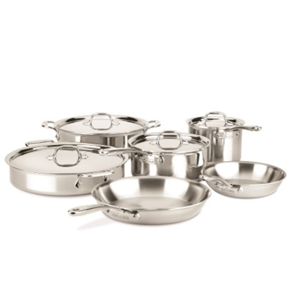 Picture of All-Clad D3 Compact Tri-ply 10PC Stainless Steel Cookware Set
