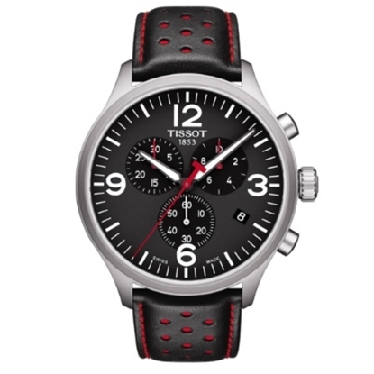 Picture of Tissot Chrono XL Classic Watch w/ Black and Red Leather Strap