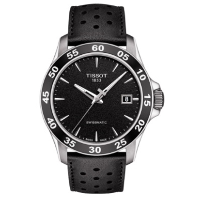 Picture of Tissot V8 Automatic Watch w/ Black Dial and Leather Strap