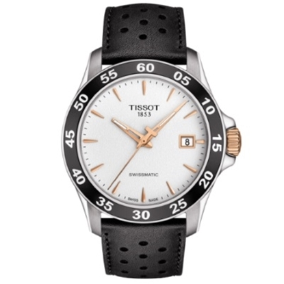 Picture of Tissot V8 Automatic w/ White/Rose Gold Dial and Leather Strap
