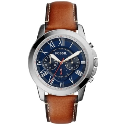 Picture of Fossil Grant Chrono Watch with Brown Leather Strap & Blue Dial