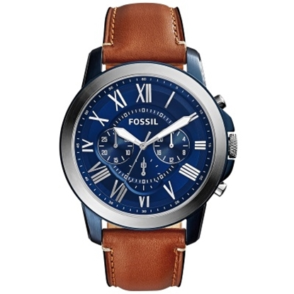 Picture of Fossil Grant Chrono with Light Brown Leather Strap & Blue Dial