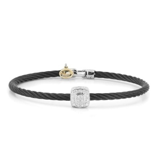 Picture of ALOR Noir Black Cable Bangle with Square Diamond Accent