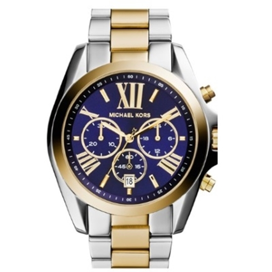 Picture of Michael Kors Bradshaw Two-Tone Chrono Watch with Blue Dial