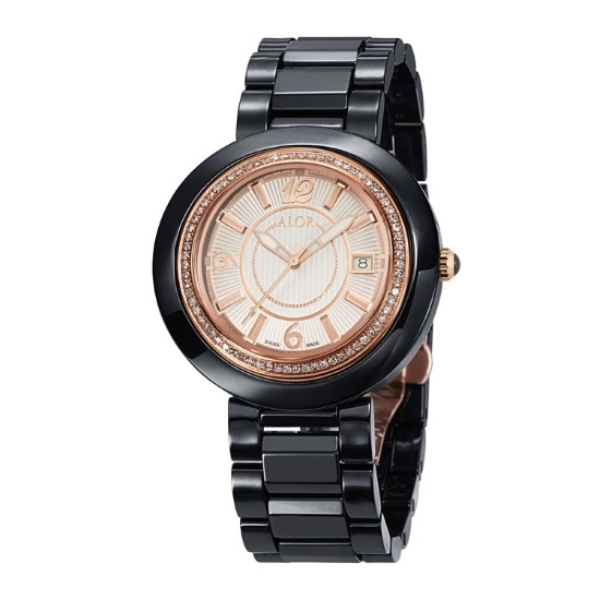 Picture of ALOR Watch w/ Black Ceramic/Rose PVD Bezel & Ceramic Bracelet