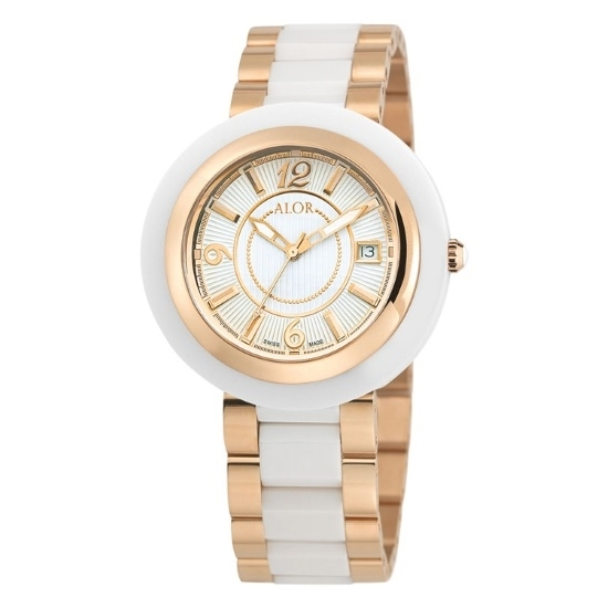 Picture of ALOR Watch with White/Rose Bezel & White/Rose Ceramic Bracelet