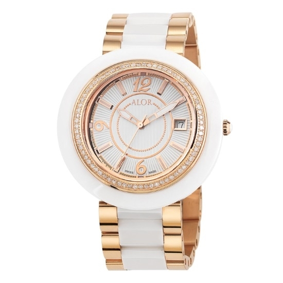 Picture of ALOR Watch with White/Rose Ceramic Bracelet and Diamonds