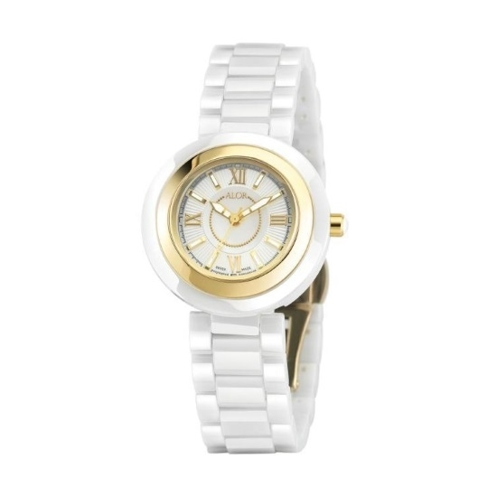 Picture of ALOR Watch with White Ceramic/Yellow Bezel & Ceramic Bracelet