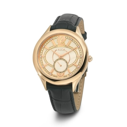 Picture of ALOR 38mm Watch with Rose PVD Bezel, Diamonds & Leather Strap