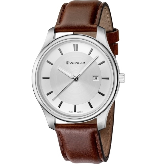 Picture of Wenger City Classic Large Watch - Metallic Dial/Brown Leather