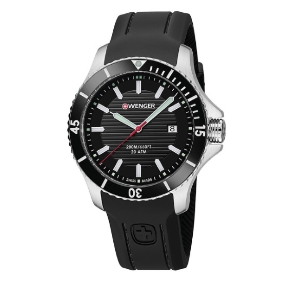 Picture of Wenger Seaforce Large Watch with Black Dial & Silicone Strap