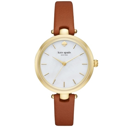 Picture of Kate Spade Holland Watch with Gold Case and Brown Strap