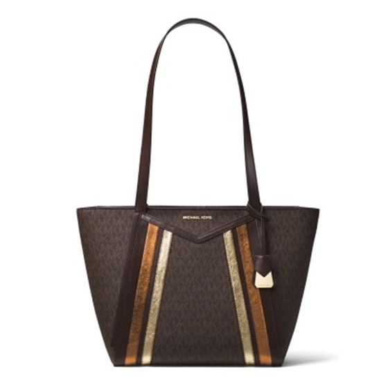 Picture of Michael Kors Whitney Signature Small Tote - Brown/Pale Gold
