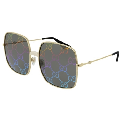 Picture of Gucci Rectangular Metal Sunglasses - Gold/Rainbow