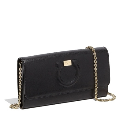 Picture of Salvatore Ferragamo City Wallet on a Chain - Nero