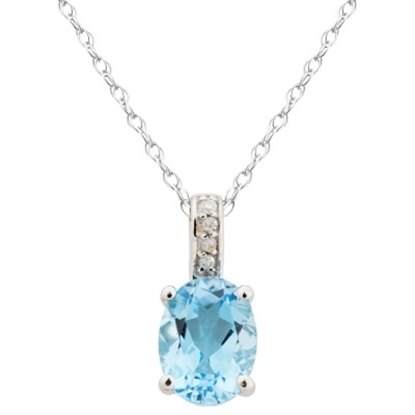 Picture of Lali 14K White Gold Swiss Blue Topaz Pendant w/ Chain