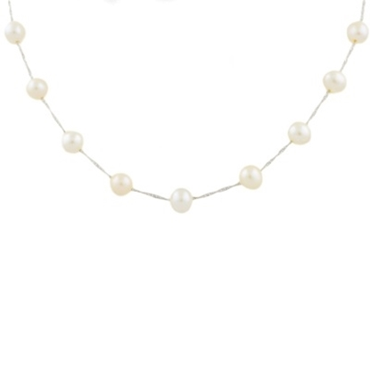 Picture of Lali 14K White Gold White Fresh Water Pearl Necklace