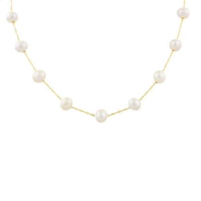 Picture of Lali 14K Yellow Gold White Fresh Water Pearl Necklace