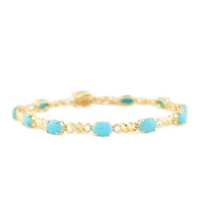 Picture of Lali 14K Yellow Gold Turquoise 7x5mm Oval Bracelet