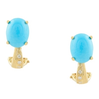 Picture of Lali 14K Yellow Gold Diamond Turquoise 9x7mm Oval Earrings