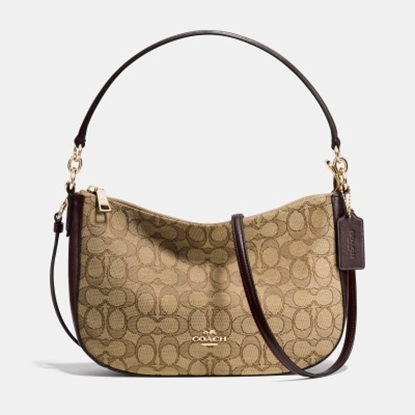 Picture of Coach Signature Chelsea Crossbody - Light Gold/Khaki/Brown