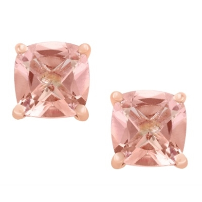 Picture of Lali 14K Rose Gold Morganite 6mm Cushion Earrings