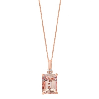 Picture of Lali 14K Rose Gold Diamond and Morganite Pendant with Chain