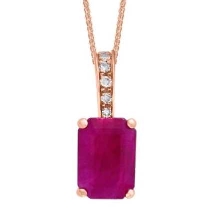 Picture of Lali 14K Rose Gold Diamond and Ruby Pendant with Chain