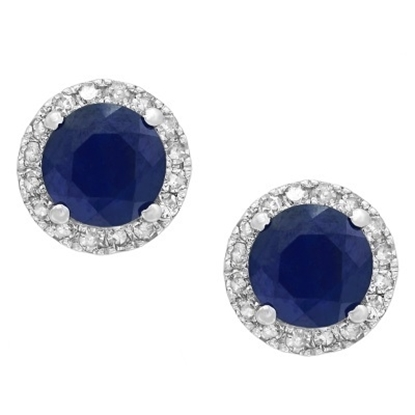 Picture of Lali 14K White Gold Diamond and Sapphire Round Earrings