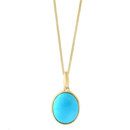 Picture of Lali 14K Yellow Gold Turquoise Pendant with Chain