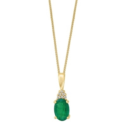 Picture of Lali 14K Yellow Gold Diamond and Emerald Pendant with Chain