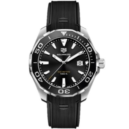 Picture of TAG Heuer Aquaracer Watch with Black Dial & Rubber Strap