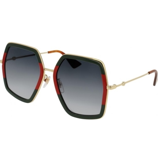 Picture of Gucci Square Grey Gradient Sunglasses - Red/Green/Gold