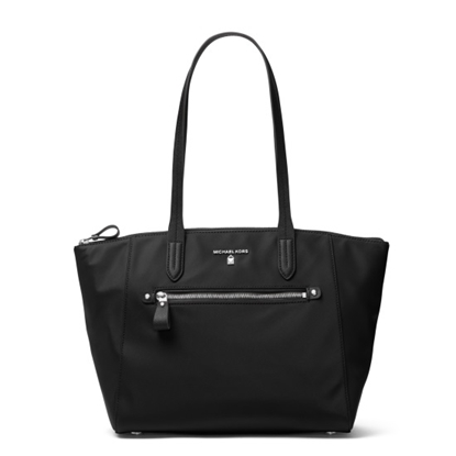 Picture of Michael Kors Nylon Kelsey Medium Top-Zip Tote - Black/Silver