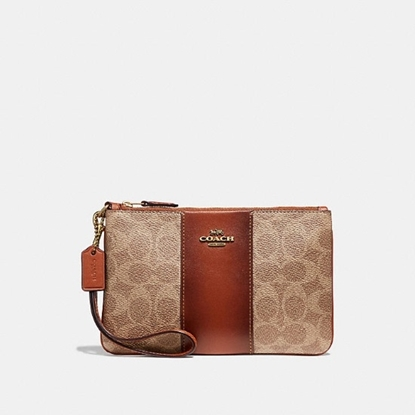 Picture of Coach Signature Colorblock Small Wristlet - Tan Rust