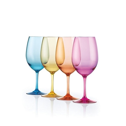 Picture of Wine Enthusiast Indoor/Outdoor Colored Wine Glasses - Set of 8