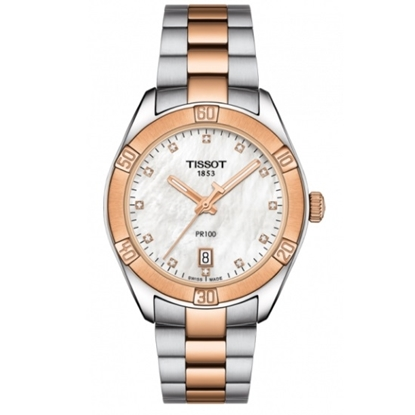 cdf7d6ee9979 Picture of Tissot PR 100 Sport Chic - Two-Tone Steel with Diamond Dial