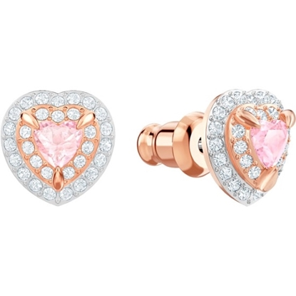 Picture of Swarovski One Stud Pierced Earrings - Multi-Color/Rose Gold