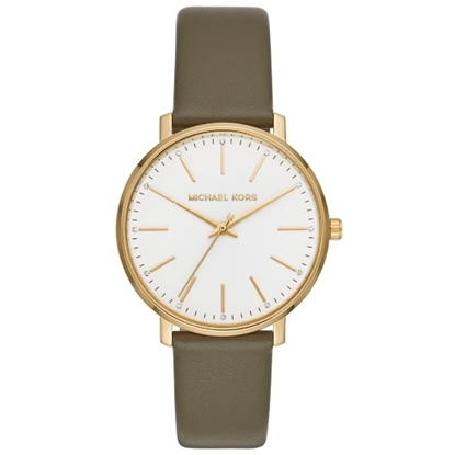 Picture of Michael Kors Ladies' Pyper Watch - White Dial/Olive Leather