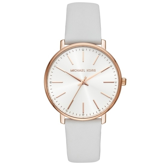 Picture of Michael Kors Ladies' Pyper Watch - White Dial/White Leather