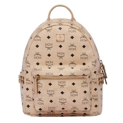 Picture of MCM Stark Side Stud Visetos Small Backpack - Beige