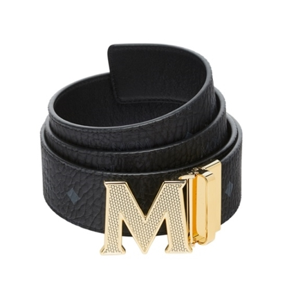 Picture of MCM Claus Reversible Belt - Black/Gold Textured Buckle