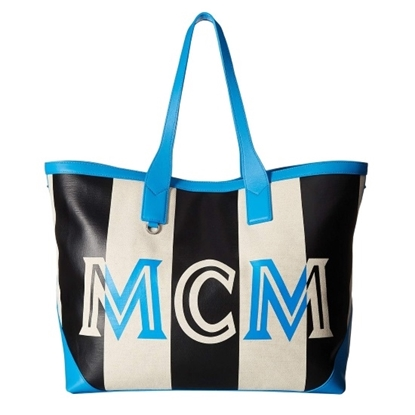 Picture of MCM Ilse Canvas Large Shopper - Tile Blue