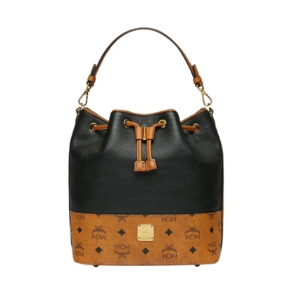 Picture of MCM Geonautic Leather Block Small Drawstring - Black/Cognac