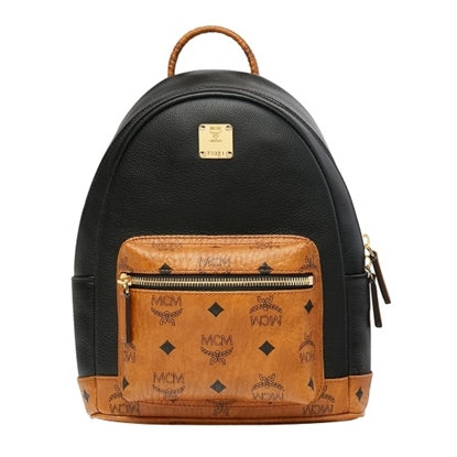 Picture of MCM Geonautic Visetos Backpack 27 - Black with Cognac