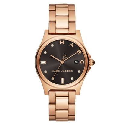 Picture of Marc Jacobs Henry Rose Gold-Tone Watch with Black Dial